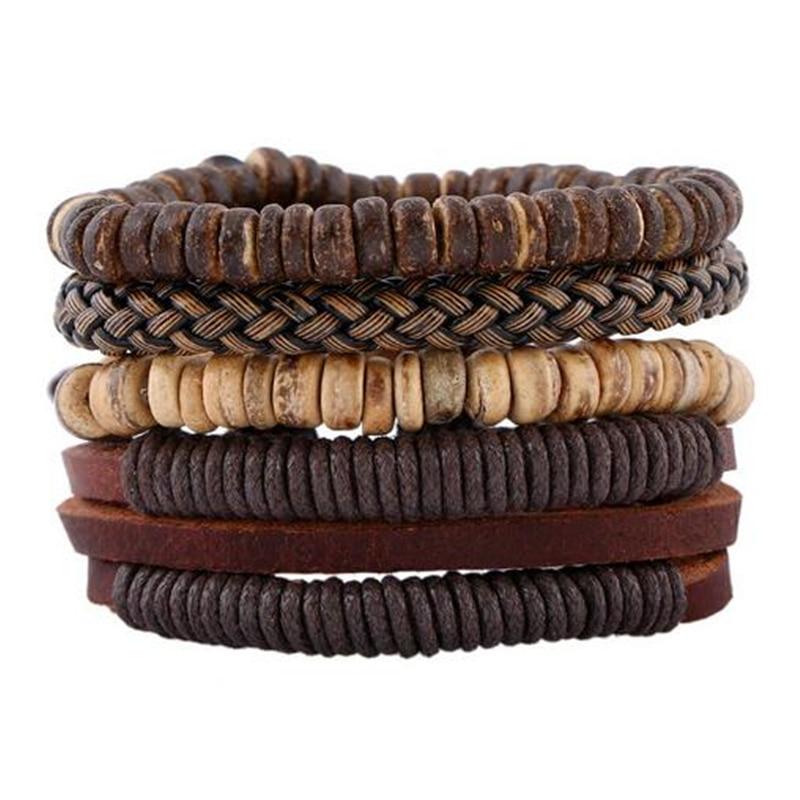 Браслет ZOSHI из натуральной кожи ZOSHI, модный браслет из деревянных бусин и манжеты, 4 шт. в комплекте
