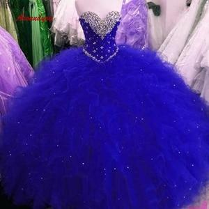 Luxury Royal Blue Quinceanera Dresses Ball Gown Tulle Sweetheart Long Prom Debutante Sweet 16 Dress vestidos de 15 anos