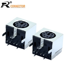 3 uds MDC/S Terminal Mini PS2 Power Socket MINI DIN 6PIN carcasa metálica hembra enchufe doblado aguja medio paquete escudo