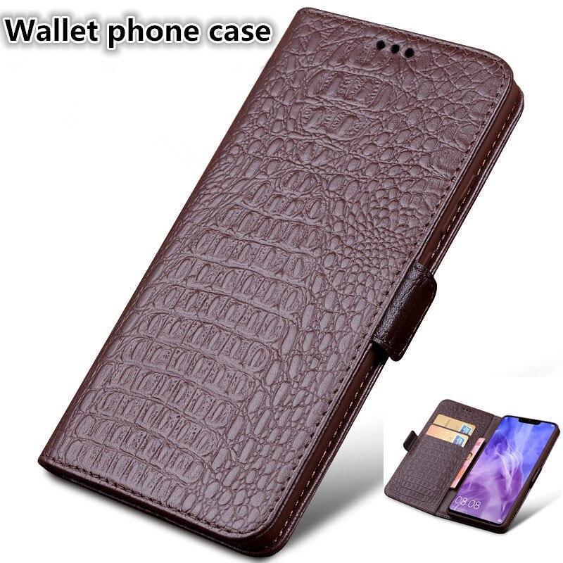 Funda de cuero genuino para teléfono con ranura para tarjeta para Samsung Galaxy A7 2018/Samsung Galaxy A7 2017
