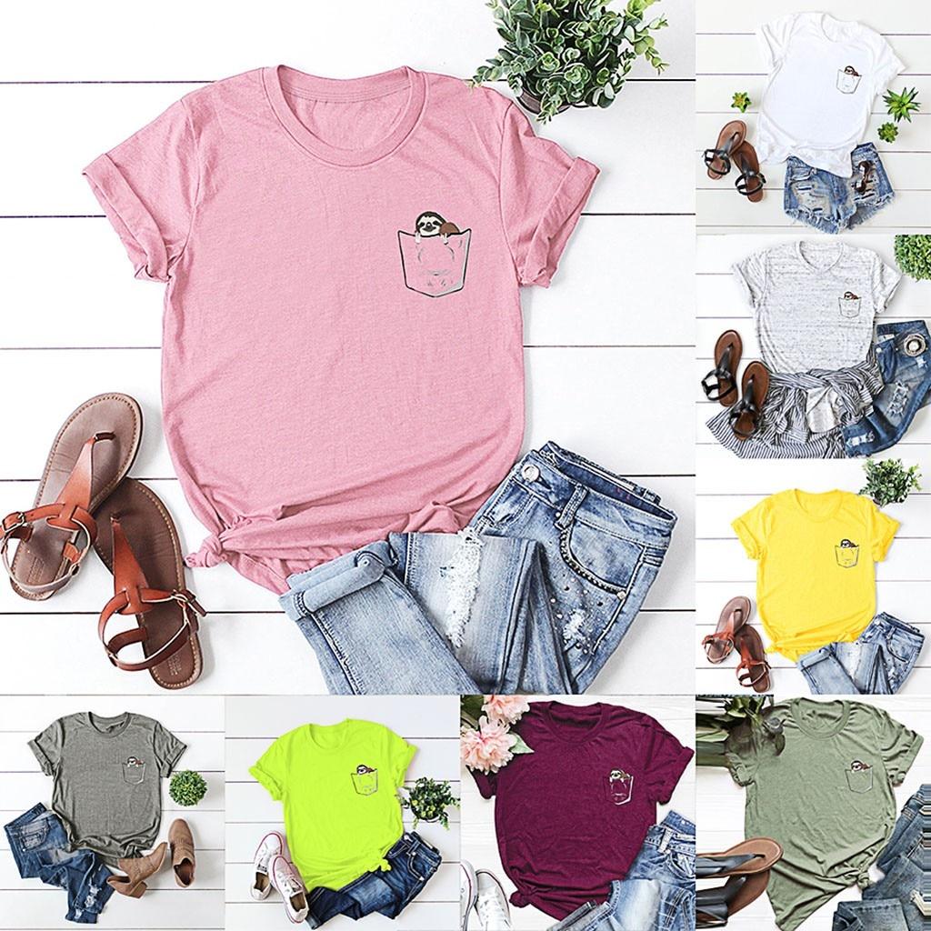 Mulheres Plus Size S-5XL Nova Adorável Saco Carta de Impressão Camiseta de Algodão Mulheres O Pescoço de Manga Curta T-Shirt Tops de Verão camisas Casual T