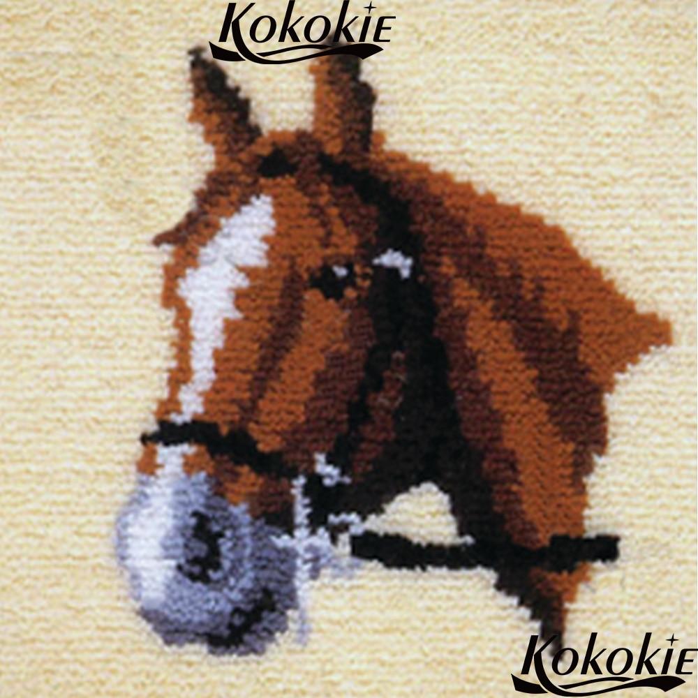 Conjuntos de ponto cruz venda adulto crafy kits para tapete diy tapete fazendo kit trava gancho travesseiro kits cavalo dos desenhos animados almofada bordado