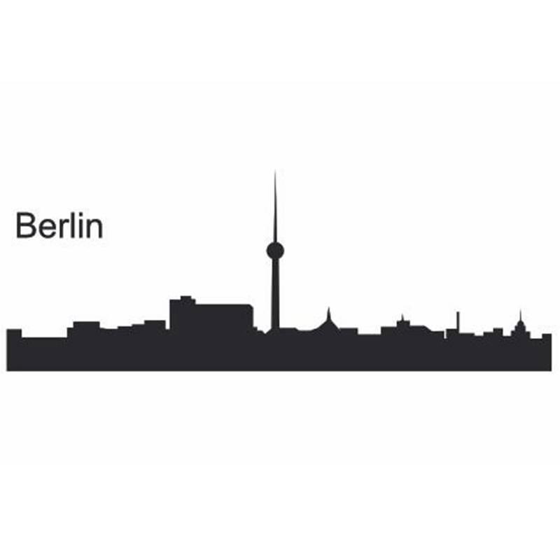 Ciudad de Berlín calcomanía de hito Skyline pegatinas de pared calcomanías de dibujo Poster Parede decoración del hogar pegatina