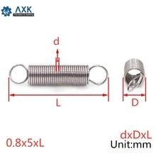 20 piezas 0,8x5mm de acero inoxidable de 0,8mm resorte de tensión con doble gancho Resortes de Extensión diámetro exterior 5mm longitud 20-60mm