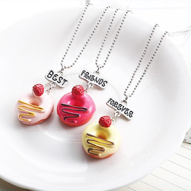 Moda Bff collar caramelo cereza Donuts resina colgante BFF Collar para los niños mejores amigos siempre chico joyería regalo