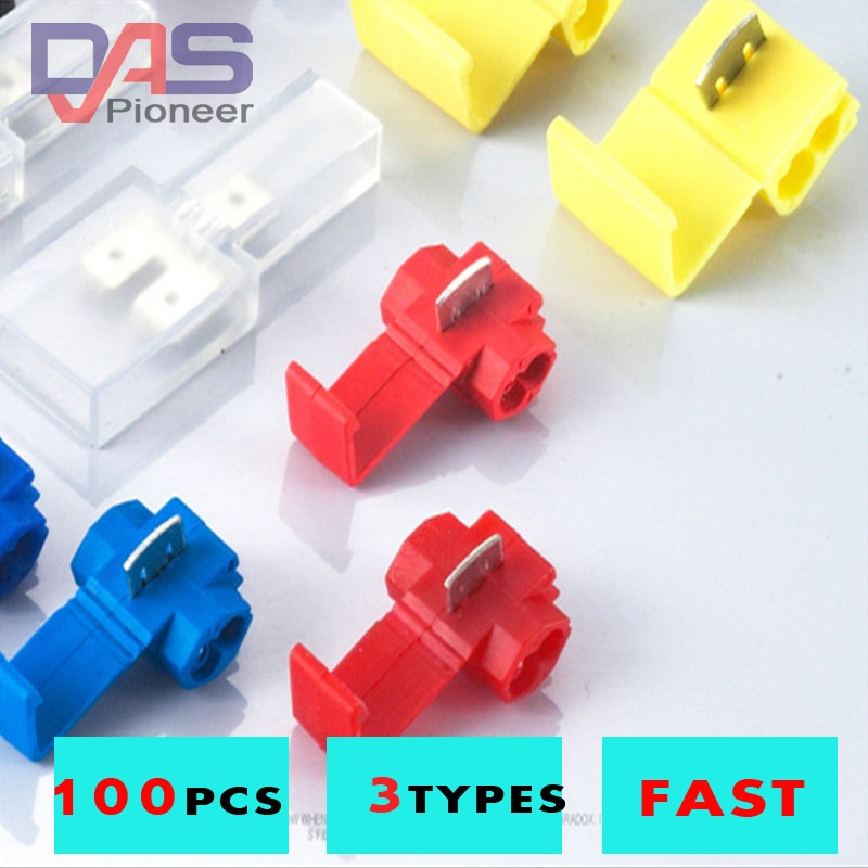 lot100pc self locking electrical cable connector quick splice lock wire terminal 2 pins electrical cable connectors quick splice 100pcs quick splice scotch lock quick splice wire cable  connectors  terminal kit