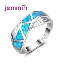 Croix évider Design 925 en argent Sterling bleu feu opale anneaux de mariage pour femme Fine bijoux accessoire Vintage anneau