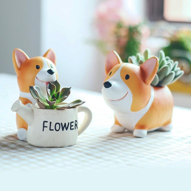 1pc Creative Resin Corgi Succulent Plant Pots Mini Flower Pot Decorative Desktop Flowerpot Fairy Garden Home Garden Decoration