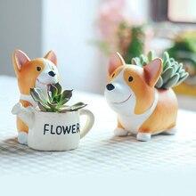 Mini Pot de fleurs en résine 1 pièce   Corgi décoratif créatif Succulent de bureau, Pot de fleurs féerique, décoration de jardin, de maison