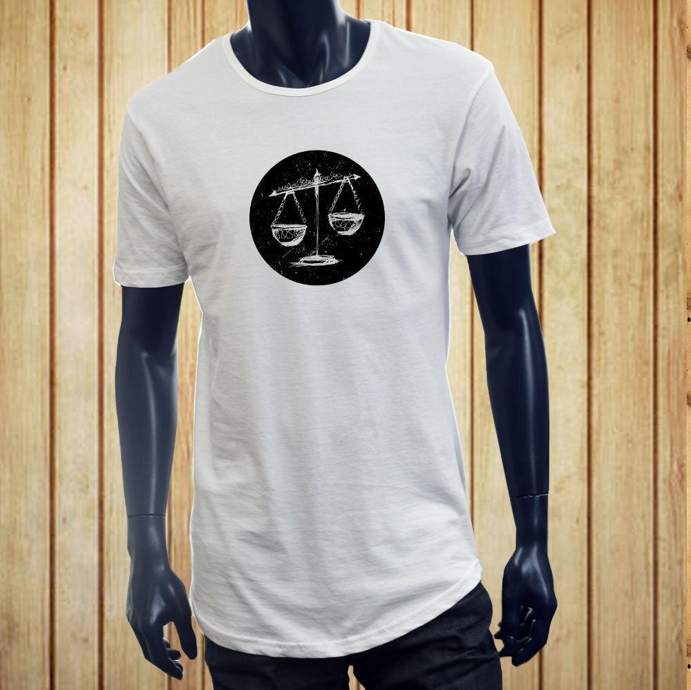 Manga corta para hombres ropa verano LIBRA VINTAGE balanzas horóscopo, Zodíaco astrología hombres blanco largo extendido camiseta