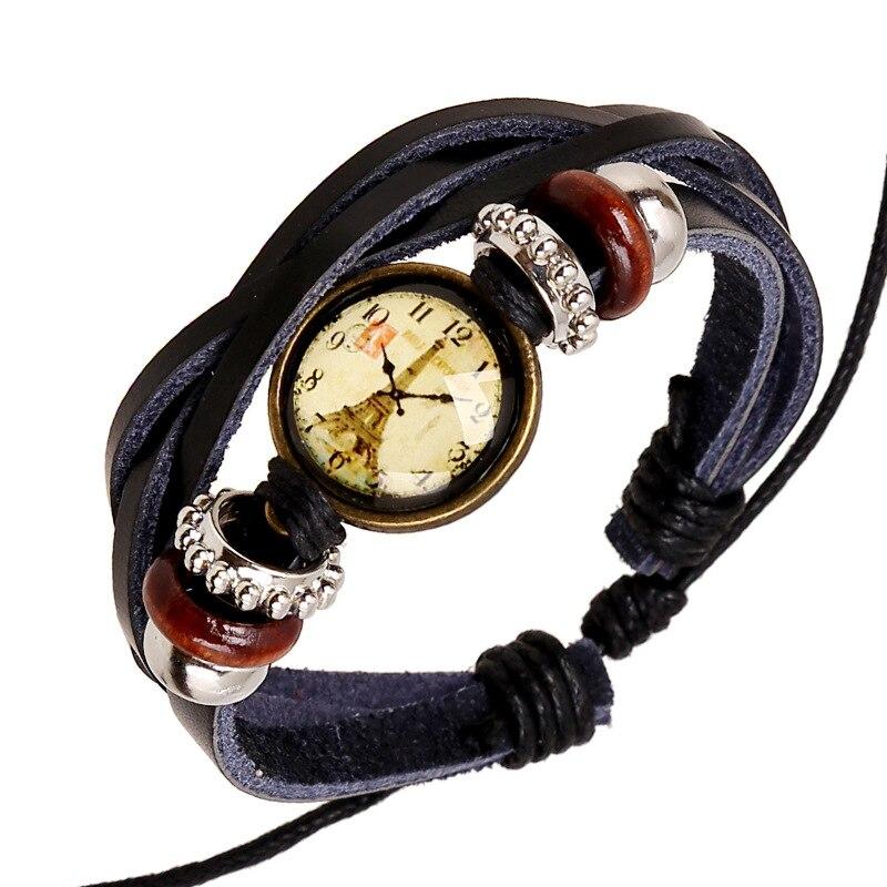 Vintage Female Bracelets Wooden Beads Wrap Bracelets Handmade Effel Towl Watch Face Charm Wristband Women's Leather Bracelets
