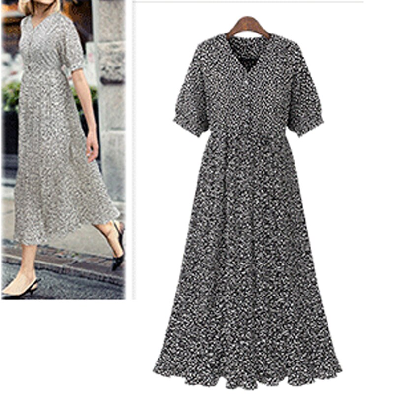 New Plus Size XL- 4XL Women Vestidos 2019 Summer Pleated Printed Dresses V-Neck Female Robe Short Sleeve Long Brand Dresses