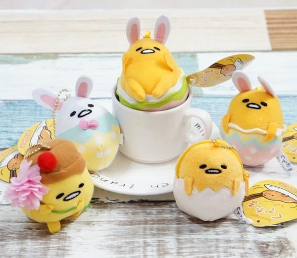 5 Styles Cute Lazy Egg Plush Stuffed Toys Easter Gudetama Egg Cosplay Rabbit Plush Dolls Girls Pendant Keychain Gifts