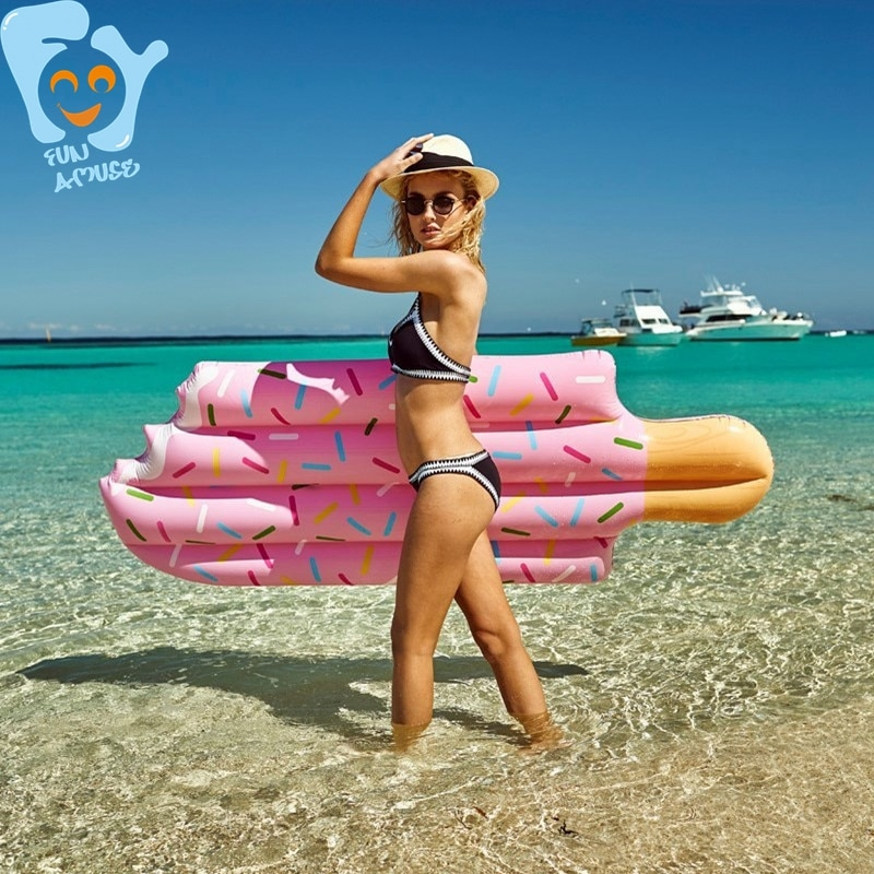 180cm/190cm Giant Inflatable Ice Cream Pool Floats Water Fun Swimming Toy Inflatable Water Mattress Raft Air Bed