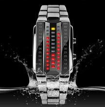 Luxury Men's Women Black Stainless Steel Date Digital LED Bracelet Sport Watches  TT@88