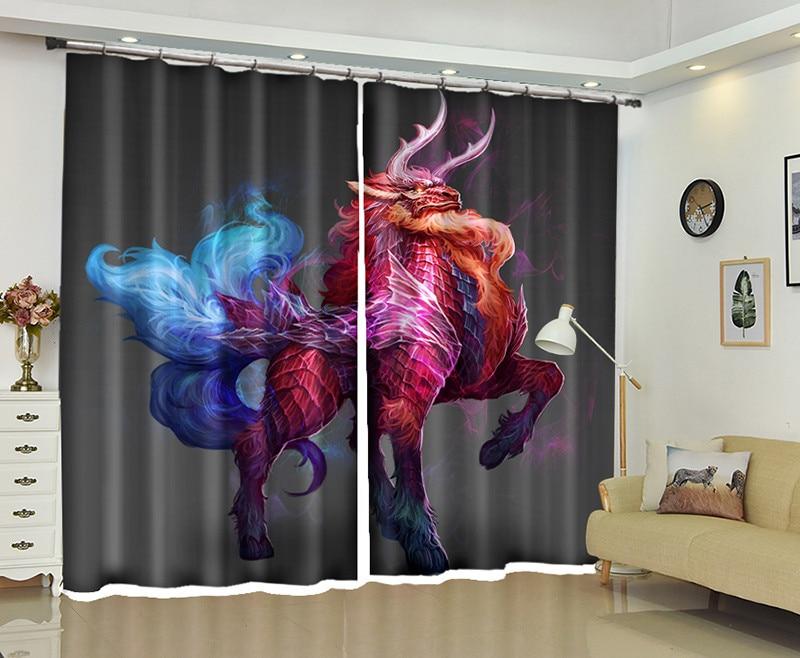 Cortina de ventana 3D de monstruo feroz para sala de estar Oficina cortina dormitorio cortinas Rideaux High-precis personalizada tamaño funda de almohada