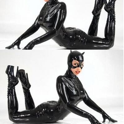 Plus Größe M XL XXL Sexy Catwoman Bondage Catsuit Latex Body Schwarz Faux Leder Stretch PVC Kostüm Full Set Mit maske