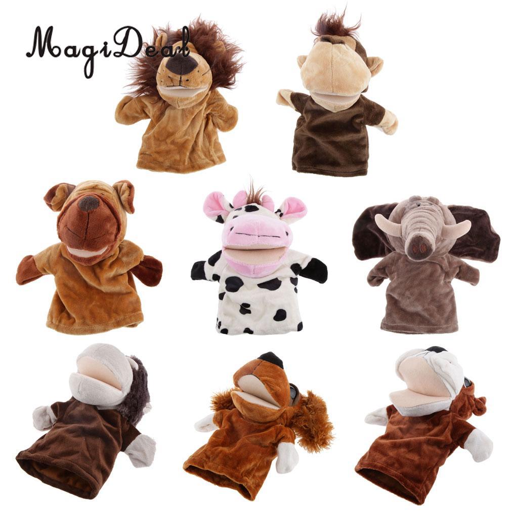 MagiDeal lindo títere de mano animales dedo juguete Boca Grande perro vacas para bebé niños adultos juguete de aprendizaje suave regalo de Historia de la infancia