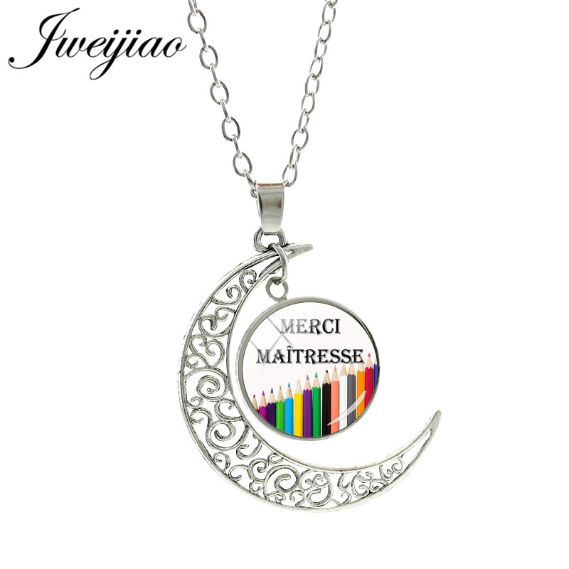 JWEIJIAO francés Merci Maitresse Luna colgante collar Super Maitresse cabujón de vidrio collares maestro madre regalo CT294