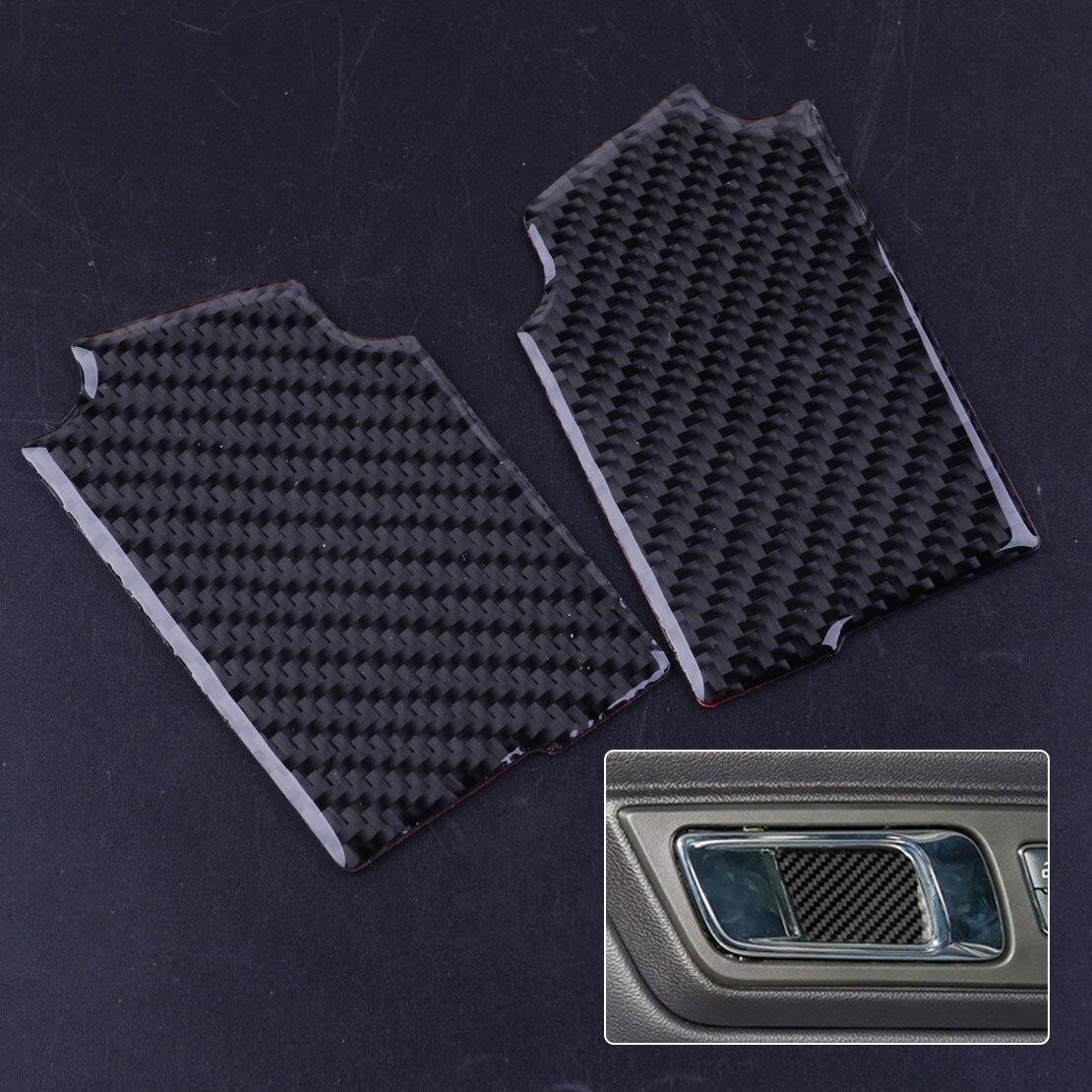 2 uds, manija de puerta interior de fibra de carbono para coche negro, parche para Panel de tapicería decorativa, pegatina para Ford Mustang 2015 2016 2017