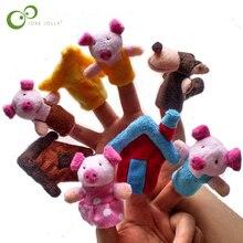 8 pièces/lot bébé dessin animé 3 petits cochons personnages doigt marionnettes théâtre spectacle doux poupées accessoires enfants jouets pour enfants cadeau jeu GYH
