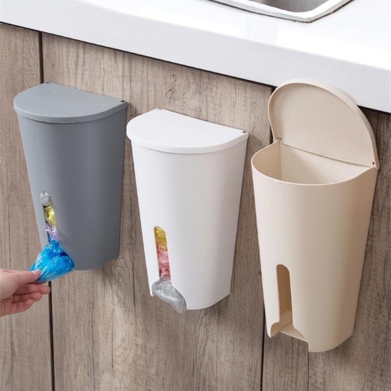Hause Müll Taschen Lagerung Rack Küche Bad Organizer Müll Tasche Hause Organizer Box Lagerung Halter Schrank Tür Fall