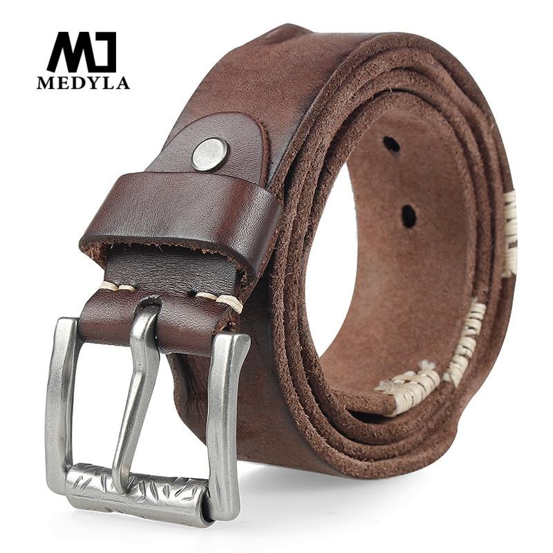 MEDYLA الأصلي جلد البقر حزام للرجال دبوس مشبك الجلود والحبوب الكاملة حزام لالجينز واسعة حزام Cummerbunds جودة عالية