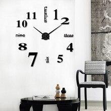 24 Diam letras en inglés números árabes acrílico pared Relojes DIY moderno adhesivo para superficie de espejo pared reloj hogar Oficina Decoración