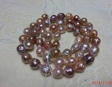 Ddh001495 12-15mm mer du sud kasumi rose violet multicolore collier de perles 18 pouces