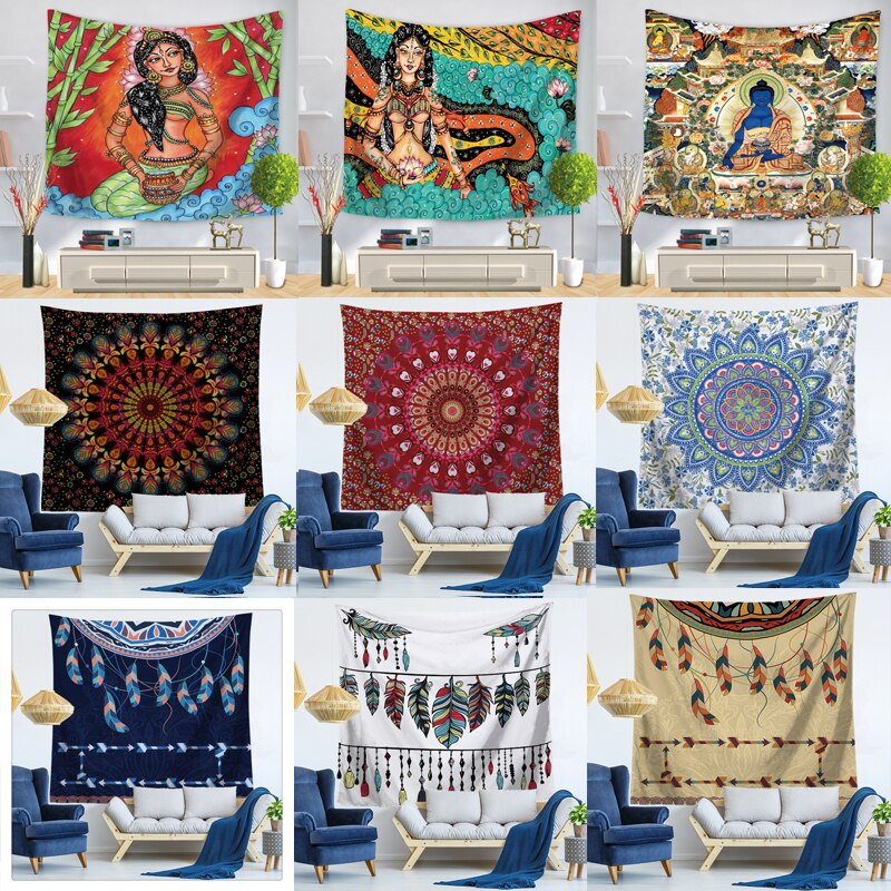 Tapiz de gato indio con diseño de Mandala, decoración de Mandala religioso, tapiz de pared bohemio, manta de playa Bohemia de talla grande