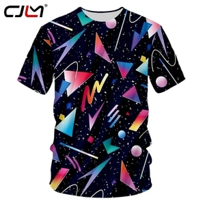 CJLM T-shirt Male New  Neck Geometric 3D Tee Shirt Printing Polygon Casual Plus Size 5XL 6XL Habiliment Homme Summer T Shirts
