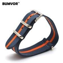 2019 vente en gros 18mm armée Orange marine Sports militaires otan tissu Nylon bracelet de montre accessoires bracelet boucle ceinture 18mm