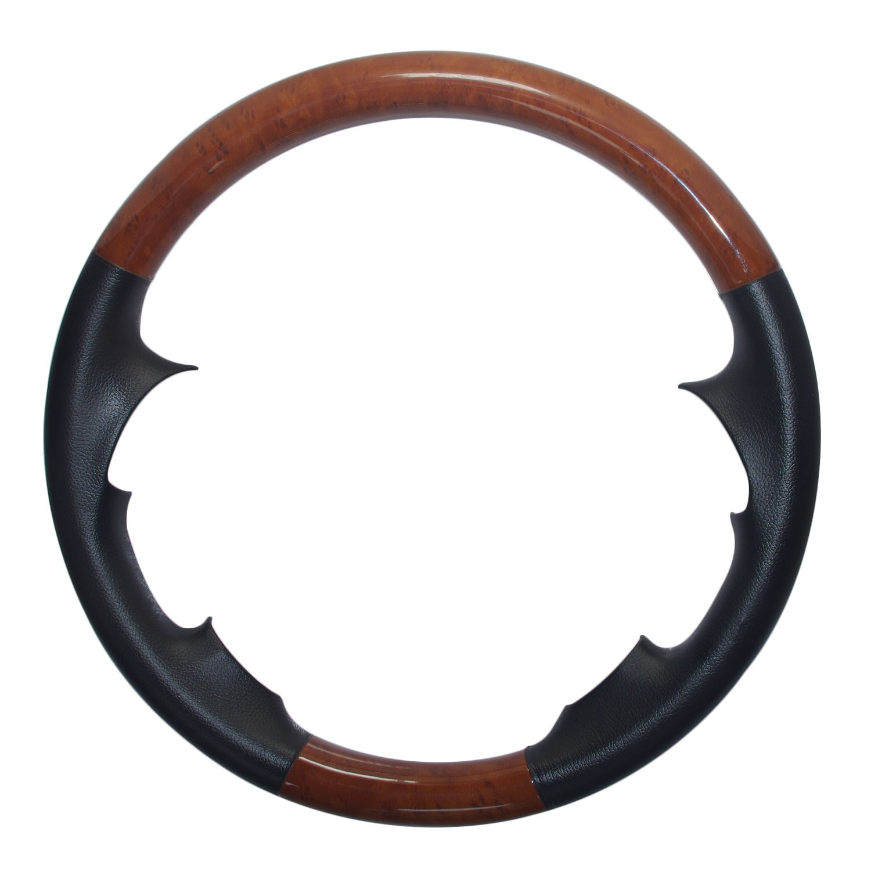 Couro marrom capa de volante de madeira decoração protetor para 2007-2011 camry highlander kluger estima hilux fortuner allion lâmina