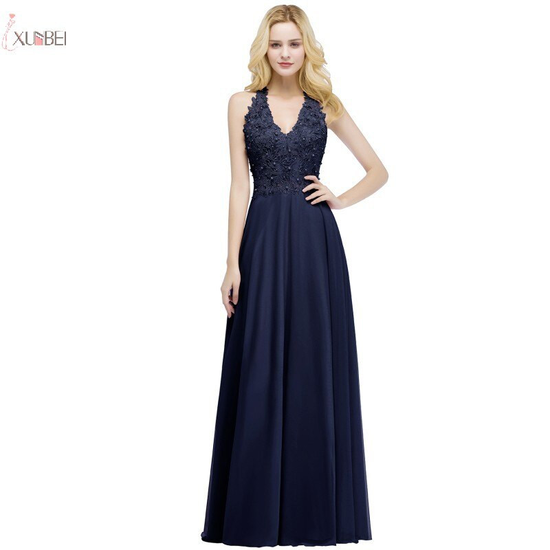 Navy Chiffon Long Evening Dress V Neck Sleeveless Formal Gown Pearl Applique 2020 robe de soiree