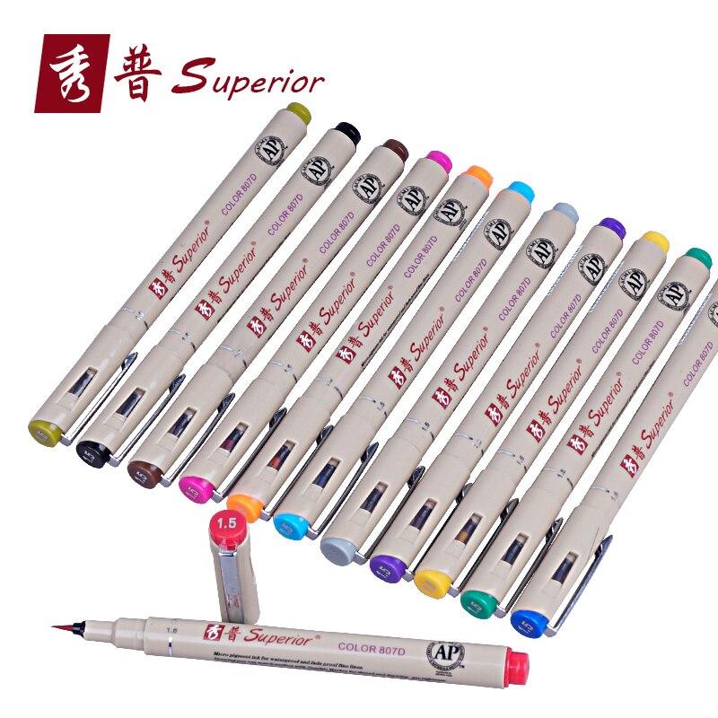 Supérieur 12 couleur dessin pinceau stylo ensemble artiste couleurs solubles croquis marqueur pour école dessin conception peintures Art fournitures