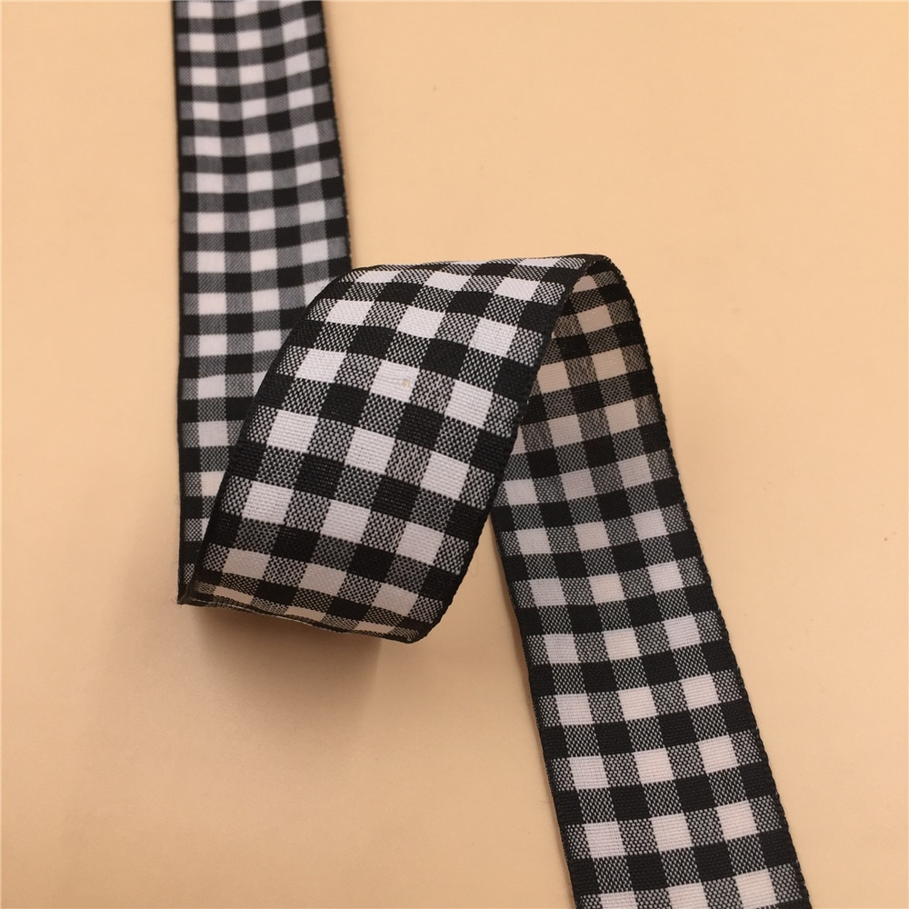 10 yardas/lote 32mm de ancho clásico negro/blanco tartán a cuadros cinta Diy Material del Arco del pelo