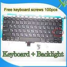 """Новая маленькая русская клавиатура с подсветкой RS + 100 винтов для клавиатуры 2008-2012 лет для MacBook Pro 13,3 """"A1278"""