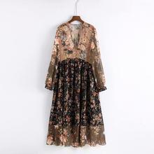 2019 bohemian women V neck floral chiffon pleated dress see through long sleeve vintage female retro chic dress vestidos