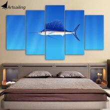 Toile de 5 pièces distiophorus platypterus   Images murales de poisson Marlin, pour salon, livraison gratuite, modèle HD