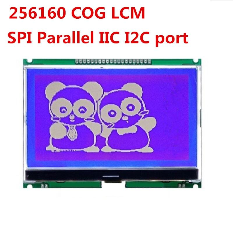 Spi 5 polegada lcd lcm módulo cog 256x160 st75256 série paralelo iic i2c 20 pinos painel de tela cor azul branco backlight