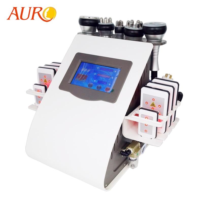 AURO جديد 6 في 1 فراغ جهاز شفط دهون بالليزر بالموجات فوق الصوتية آلة RF فقدان الوزن تردد الراديو RF جهاز تجميل ضئيلة مجانا