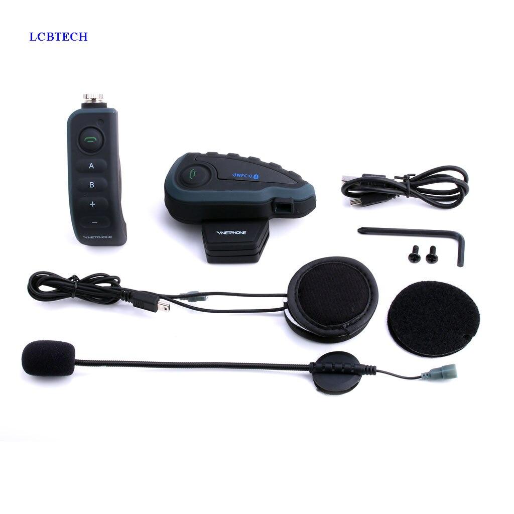 Auriculares inalámbricos EJEAS V8 para casco de bicicleta, intercomunicador NFC con Bluetooth, Control remoto, 5 personas, cascos para Moto Bluetooth, teléfono con respuesta automática