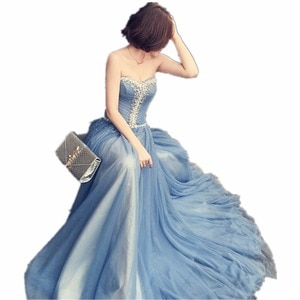 New Fashion Sweetheart Court Train Long Blue Dress Beading Crystal A-Line Woman Long Dress Elegant Evening Tulle Caftan Dress