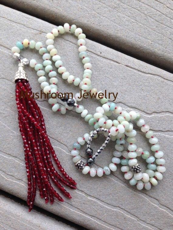 عقد من حجر الزبرجد البوهيمي معقود يدويًا للنساء ، مجوهرات شرابة صغيرة