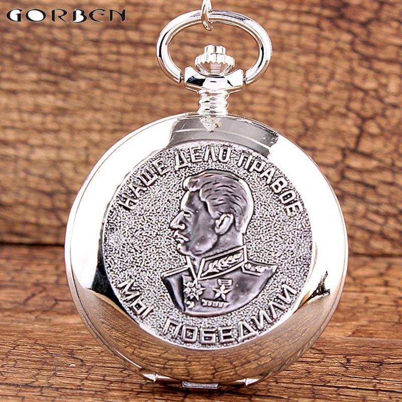 Silver Pocket Watch Stalin of Russias Leader Vintage Quartz Pocket Clock Chain Necklace Pendant Fob Clock Men Women Gift
