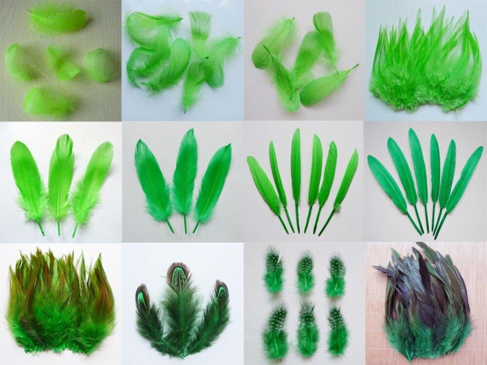 ¡Nuevo! 13 tipos 20 piezas Plumas de pollo de cola de faisán verde Plumas de gallo de ganso para fiesta DIY artesanía decoración pluma de avestruz