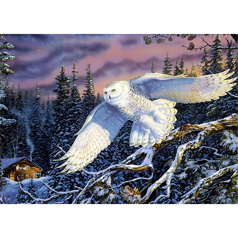 5D diy round Diamond Painting Cross Stitch Flying White Owl Diamond Embroidery kits Diamond Mosaic home Decorative drill