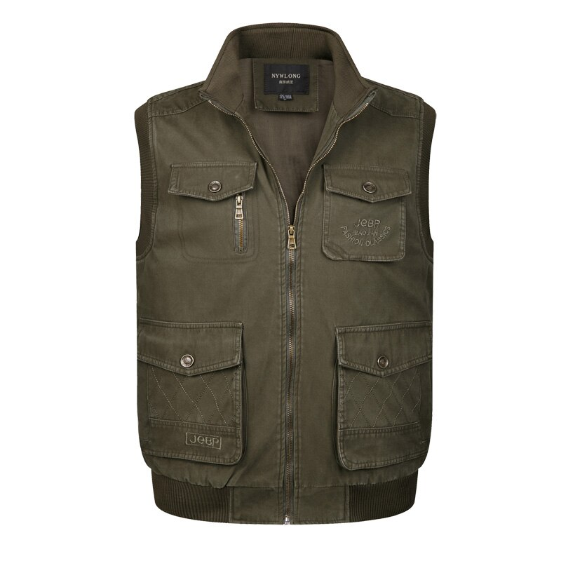 Gran oferta, chaqueta holgada para hombre, con bolsillos para hombre, sin mangas, color caqui, verde militar, chaleco clásico para hombre, chaleco sólido para Camperas