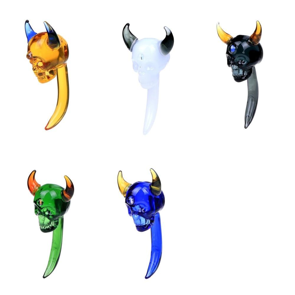 Smoking Dogo 2017 Dabber herramienta de vidrio de moda curvado Demon Skull Dabber con 5 colores blanco/Negro/Verde/azul/ámbar amarillo