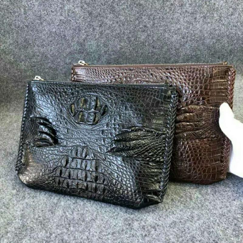 Handmade criss-cross edges Genuine Alligator leather clutch wallet mens fashion business clutch bag with metal zipper closure